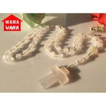 10MM Beads Natural Agate Handmake Necklace Cross Rosary Catholic Protestant Episcopal Prayer Rosaries Beads for Women Men