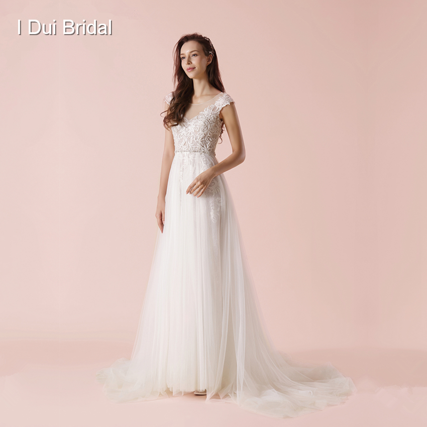 A Line Keyhole Back Wedding Dress New Arrival Illusion Neckline Lace Appliqued beaded Bridal Gown