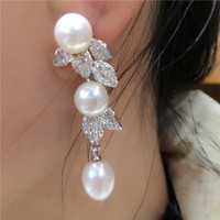 One Pair Freshwater Pearl Egg White Earring Hook FPPJ Wholesale Beads 6 9mm Unique Style