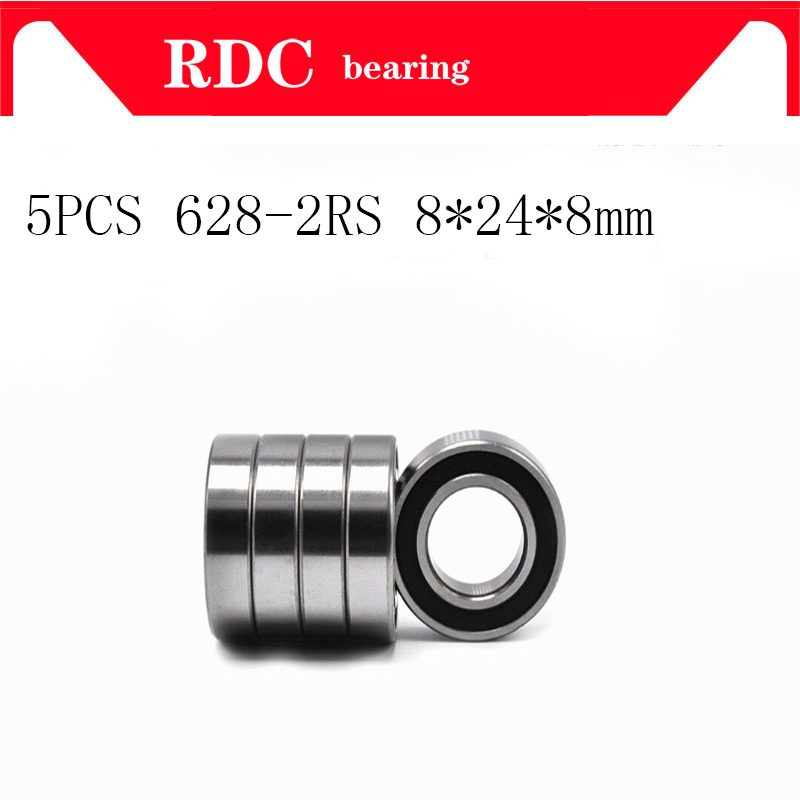 5pcs-abec-5-628-2rs-628rs-628-2rs-628-rs-8x24x8-mm-miniature-double-rubber-seal-high-quality-deep-groove-ball-bearing