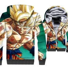 3D print swag coats Dragon Ball super Saiyan tracksuits 2019 men thicken warm jackets rib sleeve male harajuku Anime sweatshirt