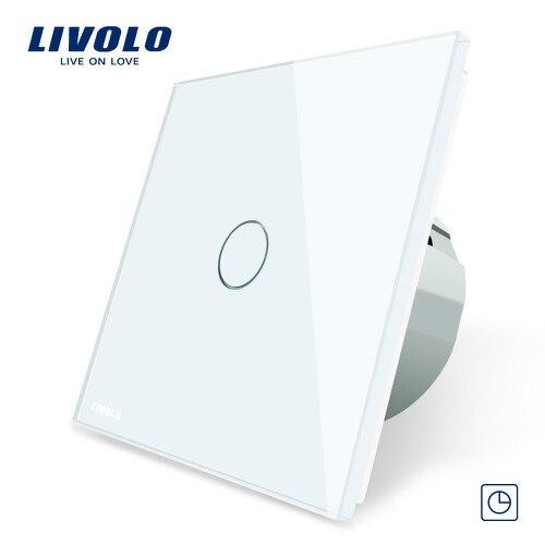 Livolo ЕС стандартный таймер(30 с задержкой), AC 220~ 250 В, 3 цвета стеклянная панель, светильник сенсорный выключатель+ светодиодный индикатор, C701T-1/2/3/5 - Цвет: White