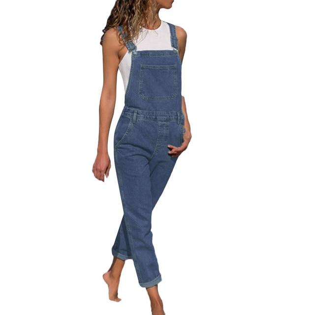 2018 Women's Fashion Denim  Bib Pants  Sexy Long Rompers Bib Pants  Jumpsuits Pants For Women Slim Ladies Jean