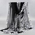 Longo de Chiffon lenços De Seda 1 PC 50*160 cm estilo Floral flores desabrochando lenços lenços de impressão preto branco
