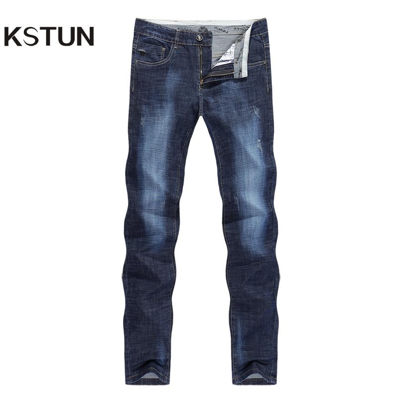 KSTUN Men Jeans Famous Brand 2019 Slim Straight Business Casual Dark Blue Thin Elasticity Cotton Denim Pants Trousers Pantalon
