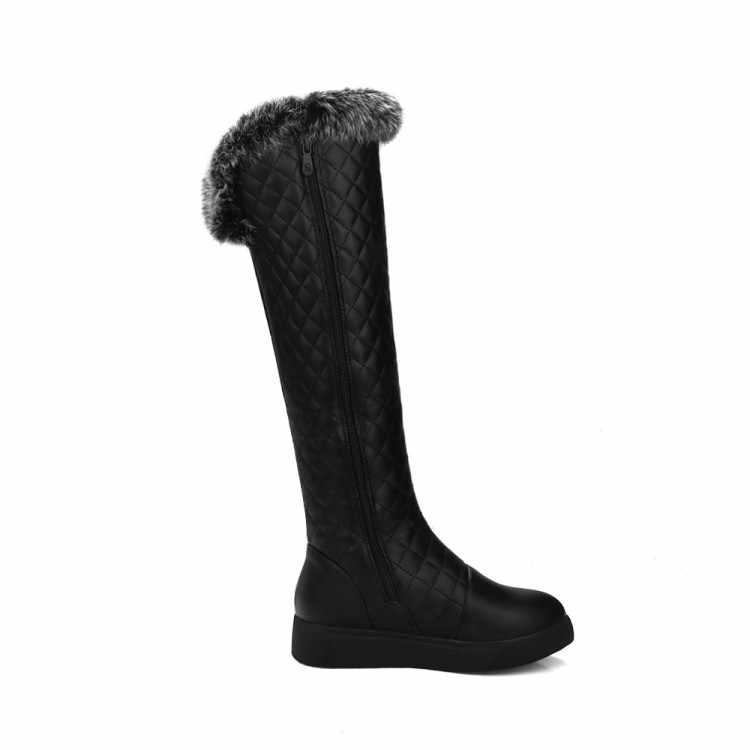 MLJUESE 2018 kadın Diz yüksek çizmeler kış kısa peluş kürk fermuarlar patchwork kadın motosiklet botları parti elbise boyutu 34 -43