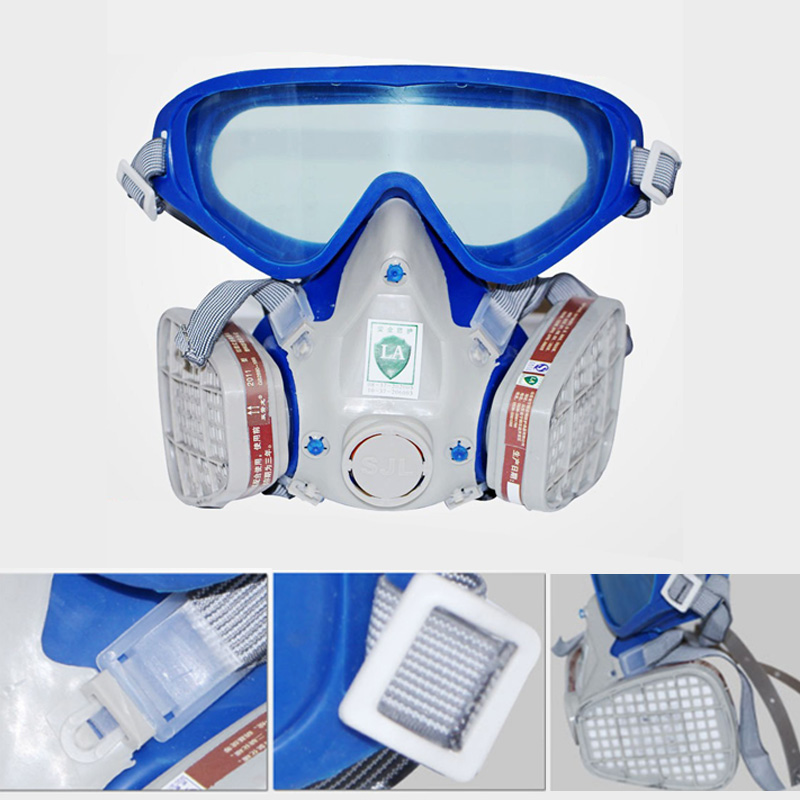 Full Face Respirator Mask Double Filter Dustproof Air Breathing Anti Chemical Gas Protection LCC77 respirator gas mask safety comprehensive full face cover paint industrial chemical anti dust respirator mask dustproof breathing
