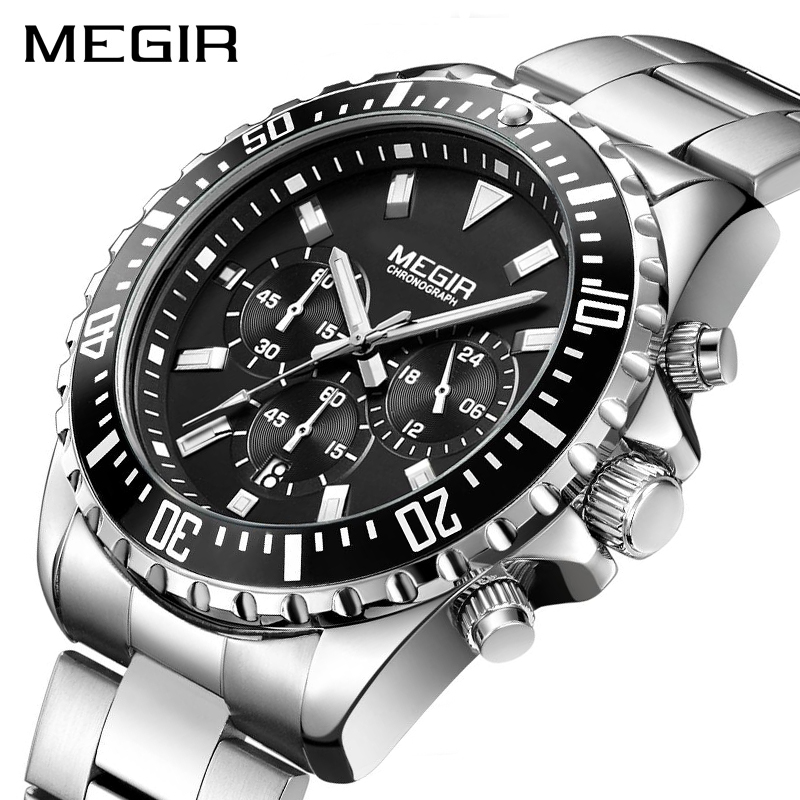 MEGIR Brand Business Quartz Watch Men Relogio Masculino Stainless Steel Army Military Watches Chronograph Wrist Watch Clock 2064 kingnuos tops luxury brand men full stainless steel business watches men s quartz date clock men wrist watch relogio masculino