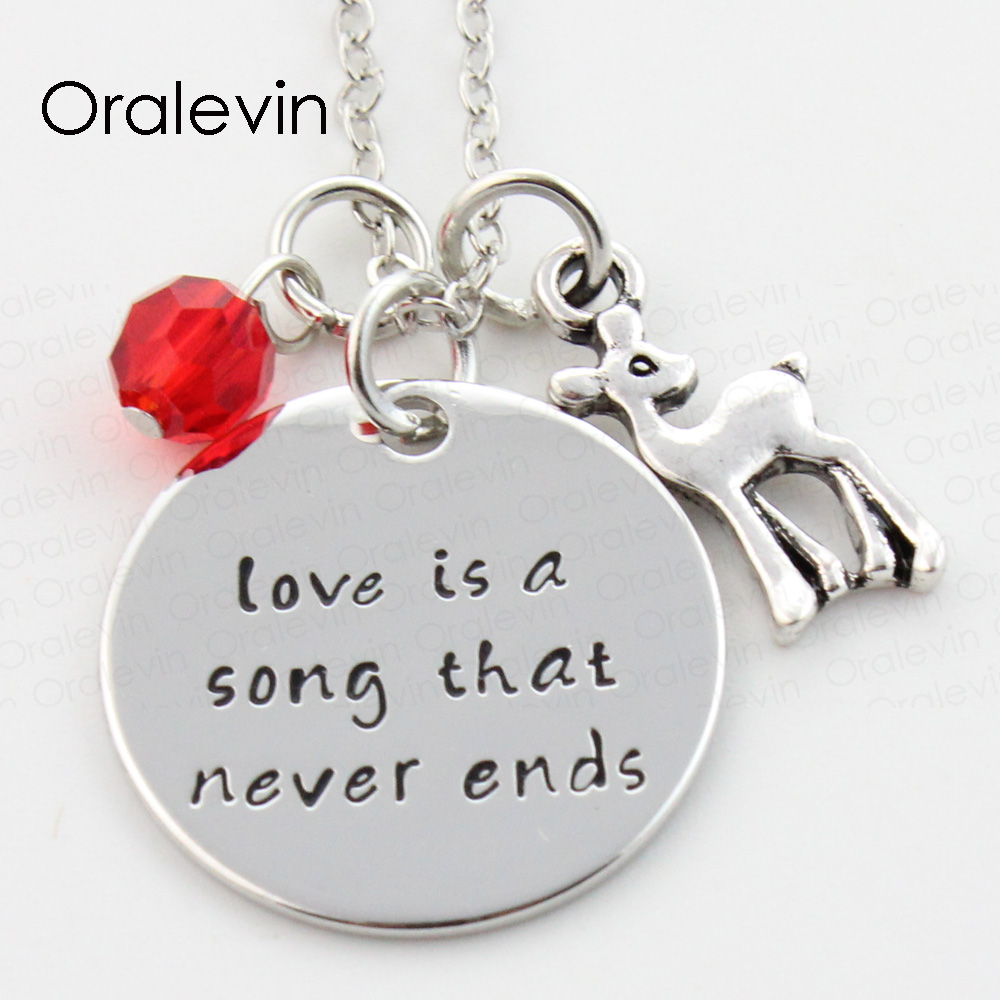 LOVE IS A SONG THAT NEVER END Charms Necklace Lover Gift Jewelry, #LN266