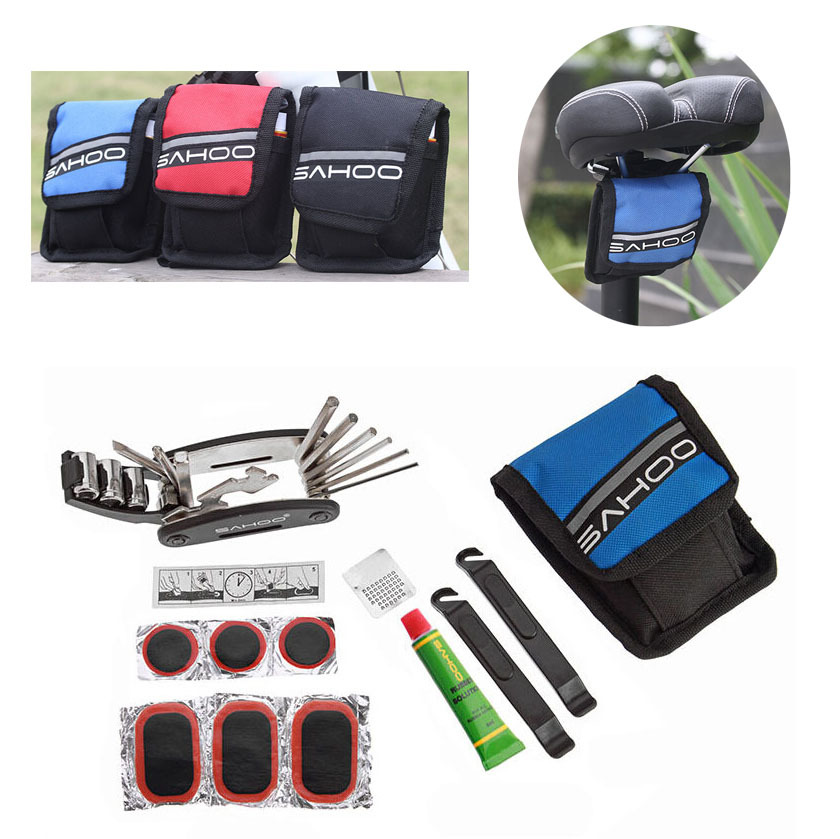 Mini Cycling Bike Bicycle Tyre Repair Kit Tool Bag Set with Multi-function Tool