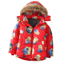 WENDYWU Baby Boy moda de invierno con capucha ropa de abrigo chaqueta de la capa, Secuaces niños de dibujos animados abajo chaqueta, ropa de algodón de los niños