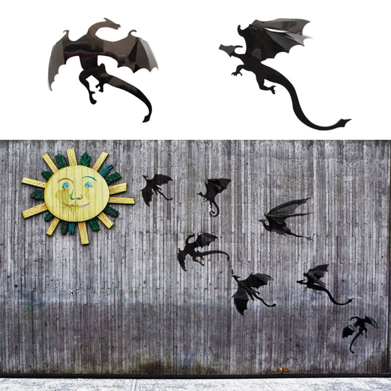 7pcs Halloween Fantasy Decor Dinosaurs Boys Rooms Fun Life Game Thrones Inspired 3D Dragon Wall Art, Dragon Silhouettes