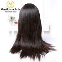 Mayflower волос 100% натуральная прямые волосы парик плотность 150% натуральный цвет среднего размера с регулировать ремни 10 28