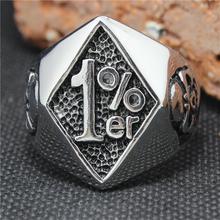2015 Cool 316L Stainless Steel Silver Biker 1% er Skull Ring Mens Motorcycle Biker Band Party Ring