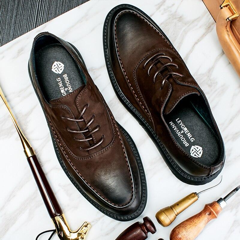 Dos Marrom Qualidade De Negócios Genuíno Primavera Alta Todo Casuais Respirável Sapatos Homens Lace Jogo Couro O up Se Vestem Do 4qtdZxdH