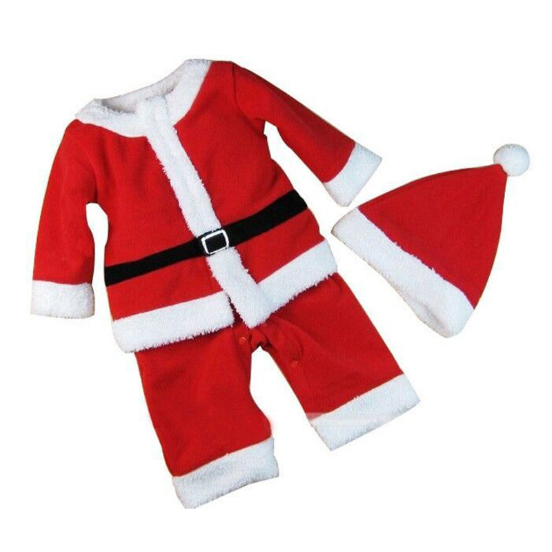 Velvet Boys Girls Red Santa Claus Costume Christmas Party Gift Cosplay Clothes Hat Set For Kids Children Dressed Up Clothing