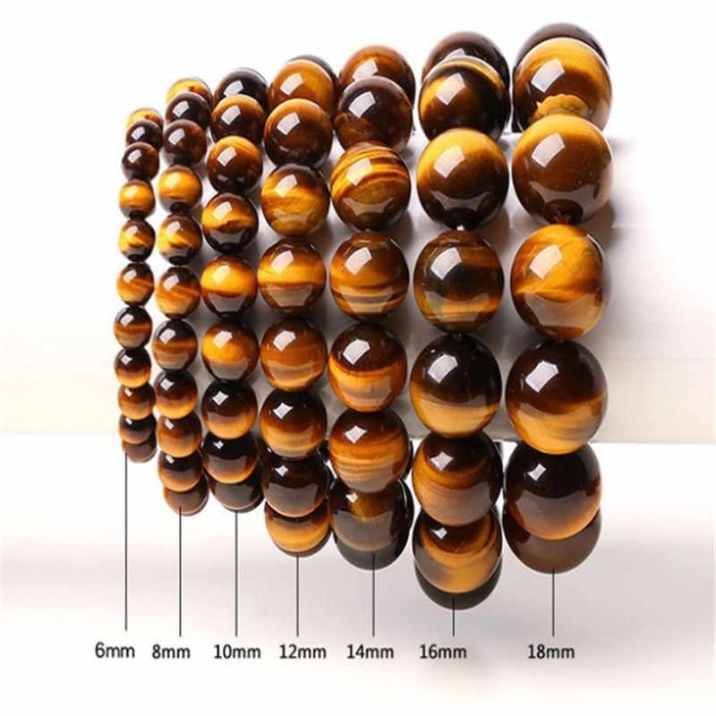 1 pièces mode Couple œil de tigre pierre Bracelets Bracelets classique noir marron naturel pierres de lave charme perle Bracelet femmes hommes