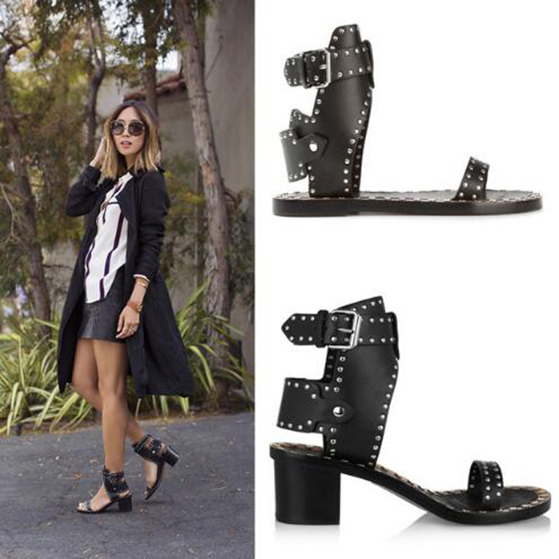 2016 branded metal rivets sandals open toe wooden chunky high heel sandals rock style ankle strappy roman women summer shoes 2018 branded metal rivets sandals open toe wooden chunky high heel sandals rock style ankle strappy roman women summer shoes