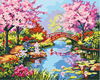 DIY Oil Painting By Numbers Frameless Cherry Blossoms Road Kits Wall Art Picture Home Decor Acrylic