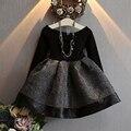 Niños vestido de la nueva manera de otoño e invierno mosaico cintura ajustada vestido de princesa para niña de princesa solid negro mini vestido
