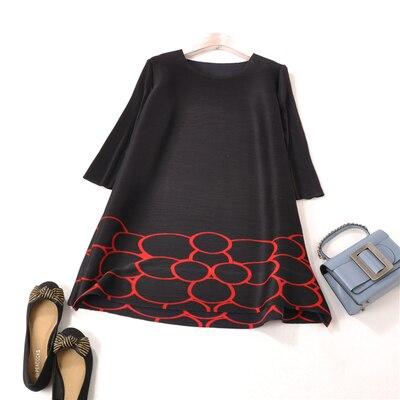 FREE SHIPPING Miyake fold Circle circle print and half sleeve o neck dress A Line dress IN STOCK