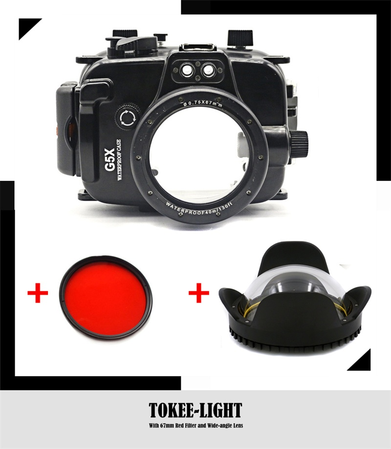 Waterproof Underwater Housing Diving Case for Canon G15 G16 G5X G7X G9X Camera With 67mm Red