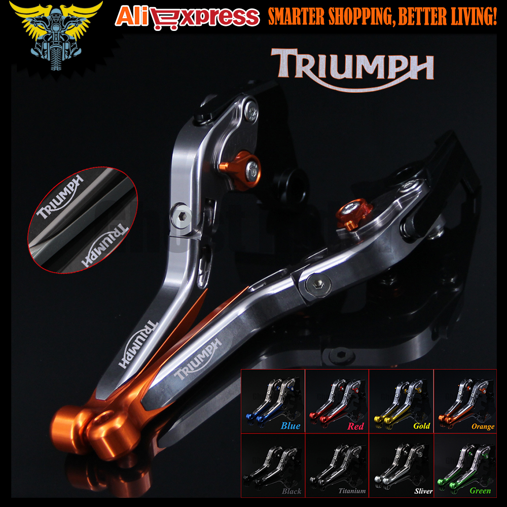 Orange+Titanium CNC Adjustable Folding Extendable Motorcycle Brake Clutch Levers For Triumph SPEED TRIPLE 2008 2009 2010 billet adjustable long folding brake clutch levers for kawasaki z750 z 750 2007 2008 2009 2010 2011 07 11 z800 z 800 2013 2014