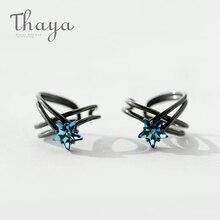 Thaya Star Track Винтажные серьги с клипсами для ушей из серебра s925 пробы, серьги-манжеты для ушей без пирсинга для женщин, ювелирные изделия в стиле панк черного цвета