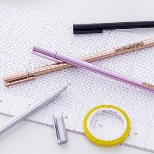 5 шт., оптовая продажа, гелевая ручка, корейские канцелярские принадлежности, креативная металлическая ручка, нейтральная ручка, ручка для воды, 0,5 мм, углеродистая черная, школьные офисные принадлежности