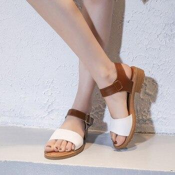 Casual Mixed Colors Open Toe Square Heels Sandals