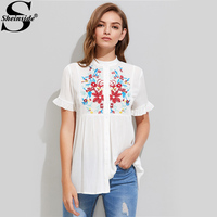 Sheinside Embroidery Crinkle Shirt Yoke Frilled Sleeve White Blouse 2017 Women Cute Summer Tops Casual Button