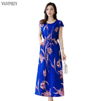 Women's Dresses Summer Middle aged Fashion Print Party dress 2019 New Casual Short Sleeve Loose Plus Size Long Dress Vestidos