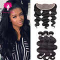 Cheap Peruvian Virgin Hair With Closure 3pcs Peruvian Body Wave With Lace frontal Closure Ms lula hair with frontal and bundles