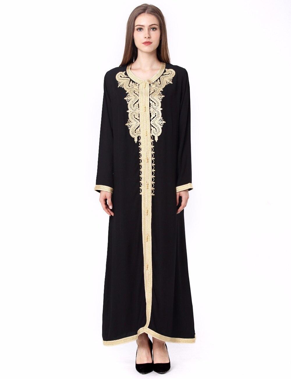 89ebce8f51 Women Maxi Long sleeve long Dress embroidery moroccan Kaftan Caftan Jilbab  Islamic abaya Muslim Turkish arabic Robes gown 1629-in Dresses from Women s  ...