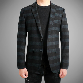 New Fashion Men Striped Dress Jacket Slim Design Business Banquet Men Suit Coat High Quality Casual Suit Men Jackets