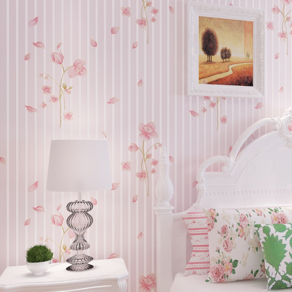 Pink Floral Wallpaper For Walls Purple Wallpapers For Bedroom Wall Paper  Stripes For Wedding Decoration Non Woven Wallcovering In Wallpapers From  Home ...