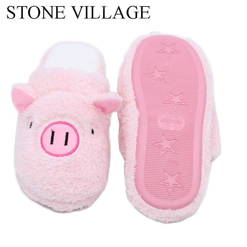 Large Size 35-45 Autumn Winter Cotton Home Slipper Pig Animal Print Cute Women Slippers Shoes Woman Pink Brown 3