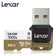 Lexar cartão micro sd tarjeta 64gb classe cartão de memória SDXC 150 MB/S U3 10 carro leitor de cartão SD flash TF carte para Gopro camera Sports
