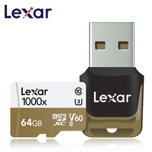Lexar карты micro sd card 64 Гб SDXC 150 МБ/с. слот для карт памяти U3 class 10 автомобиля TF флеш sd карта кард ридер для спортивной камеры Gopro