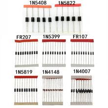 8 valor 100 pcs conjunto kit de Troca Rápida de Diodo Schottky 1N4148 1N4007 1N5819 1N5399 1N5408 1N5822 FR107 FR207 Diode Assorted kit