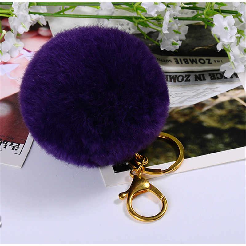 Encanto bolsa de Pele De Coelho Rex Real Fofo 8 centímetros Pom pom Bola De Pêlo Chaveiro Chaveiro de Ouro Chaveiro Pingente Chave suporte para Mulheres Presente