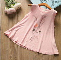 YPBqz713619 2017 New Baby Girl Top Print Rabbit Sleeveless Fashion Toddler Girl Tee Kids Pullover Kids clothes Girls Clothes