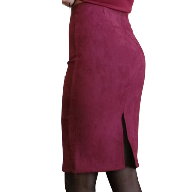 Women Skirts Suede Split Thick Stretchy Skirt Female Pencil Skirts Plus Size Faldas Mujer #6