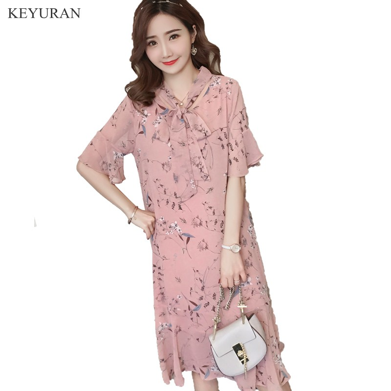 Sweet Bow Pink Flower Print Chiffon Maternity Long Dress 2018 Summer Loose Clothes for Pregnant Women Pregnancy Clothing Y075