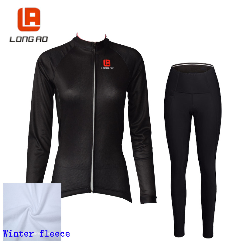 LONG AO Winter fleece Cycling set women Cycling jersey Long sleeve bike Thrasher clothing Roupa ciclismo Winter cycling wear