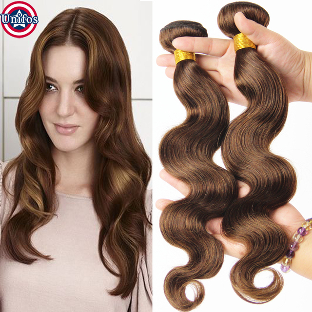 Grade 8a Peruvian Body Wave Hair Weave Color 4 Human Hair Extensions