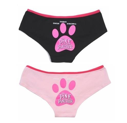 Cute Girl VS Pink Panther Big Feet Print Brifes Cotton intimates ...