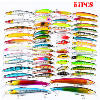 57pcs Fishing Lures Set Mixed 8 Models Minnows Popper Crank Bait Fishing Tackle