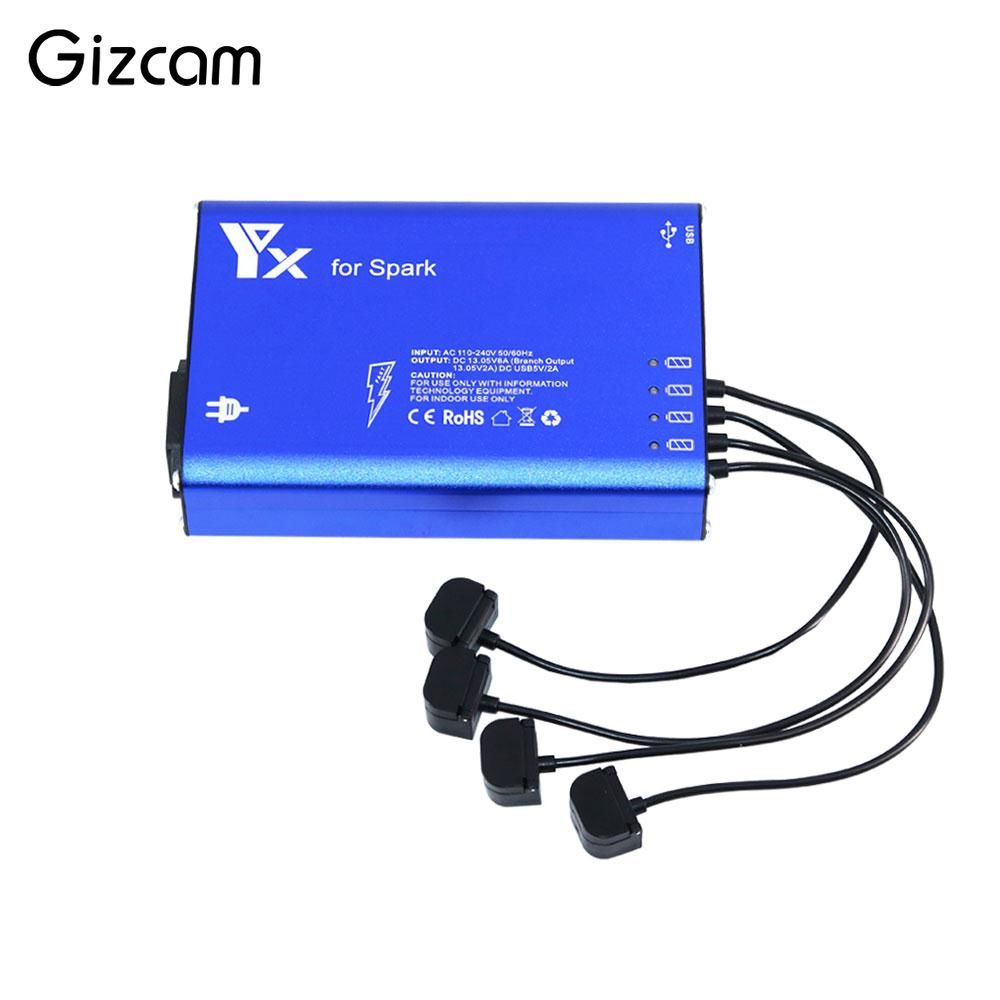 Gizcam 6 in 1 Battery Charger Hub Parallel Dual USB Remote Intelligent Multi Charging For DJI Spark Drone US/AU Plug