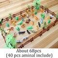 2016 Новый 68 шт. Жесткие Пластиковые Диких Животных Цифры Set + дерево Динозавр лошадь Игрушки Малыш Ребенок не токсичен ПВХ Модель Игрушки Действий комплекты